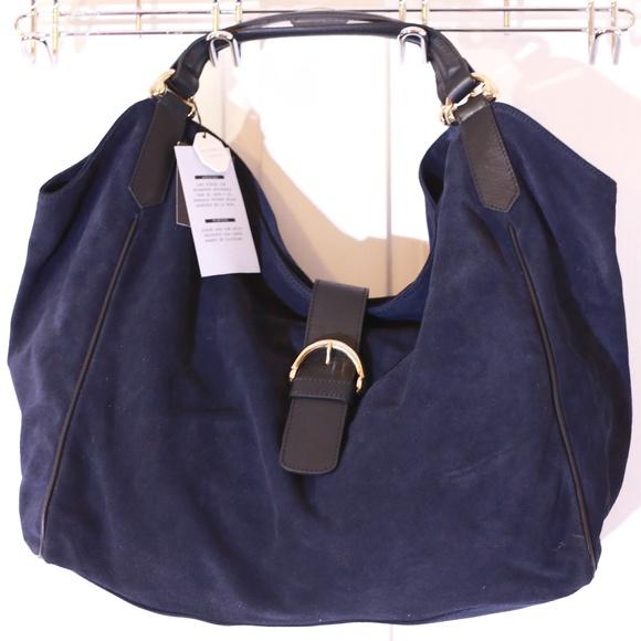 2553bbcae602 Zara Navy Blue Genuine Suede Hobo Shoulder Bag